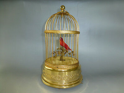 Vintage French Bontems Singing Bird Cage Automaton Music Box (Watch The Video)