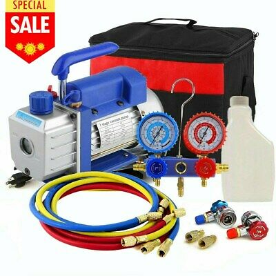HVAC 1/3hp 5cfm Vacuum Pump Air AC Set 4-way A/c Aluminum Manifold Gauge USA BT