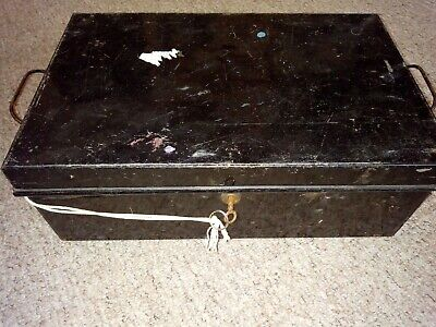 Vintage Black Metal Deed Box with key