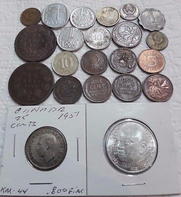 Lot Silver Old 1883 1884 World Coins Germany Canada 1951 Us Portugal Israel 1