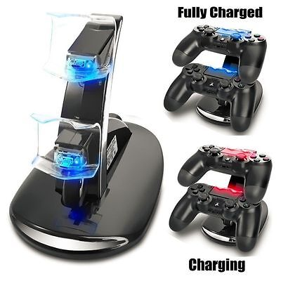 Led Dual Controller Charger Dock Station Stand Charging For PS4 Playstation )H