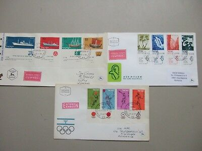Three Israel thematic express fdc with TAB sets:Olympic,Ships,National Parks