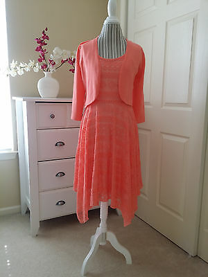 NWT CUPIO Coral Blush Hanky Lace Ladies Dress with Knit Shrug Cardigan Sz.M $146
