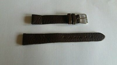 Quality Calf Grain Genuine Leather Watch Strap 14mm Brown