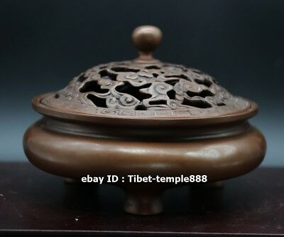 39MM Curio China Bronze Three Foot Propitious Cloud Small Incense Burner Censer