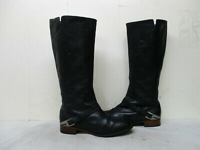 c280112a2e6 UGG AUSTRALIA CHANNING Black Leather Zip Riding Boots Womens Size 9 Style  3184