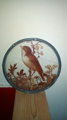 Antique Victorian Hand Painted Stained Glass Bird Centre Piece