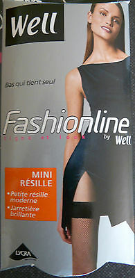 "Bas mini Resille WELL ""Fashionline"" auto-fixant  NOIR   Taille   3/4"
