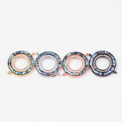 Zircon Gemstone Abalone Shell Ring Charm Bracelet Connector Spacer Beads Finding