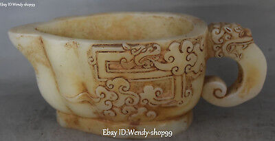 Unique Old Jade Ancient Dragon Loong Beast Zun Cup Pot Kettle Goblet Statue