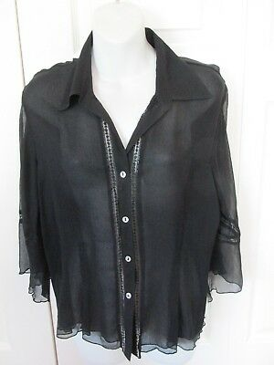 838c2892a287ee ISHYU Sheer Collared Blouse 100% Silk Button Front 3 4 Sleeves Black Sz LG