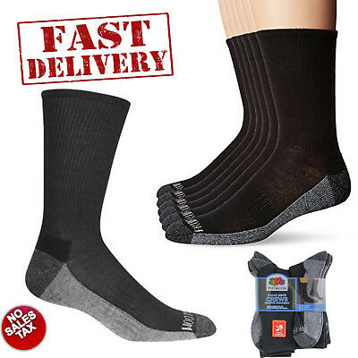 6 Pair Mens Heavy Duty Crew Socks Cushioned Durable Work Black Size 10-13 Men