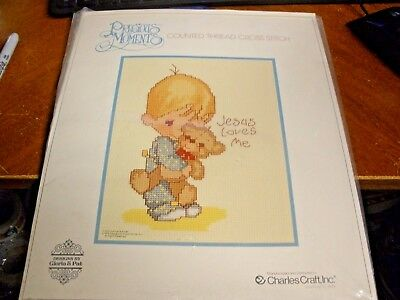 Charles Craft Cross Stitch Kit PRECIOUS MOMENTS JESUS LOVES ME opened but not u
