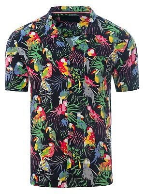 Soulstar Mens Cubano Collar Short Sleeve Summer Casual Parrot Hawaiian Shirt