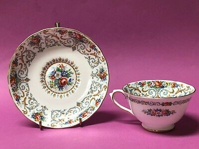 Tuscan Orleans Tea Cup and Saucer Flowers and Blue Scrolls Gold Trim England