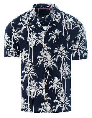 Soulstar Mens Cubano Collar Short Sleeve Summer Palm Trees Hawaiian Shirt Navy