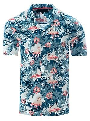 Soulstar Mens Cubano Collar Short Sleeve Summer Flamingo Hawaiian Shirt White
