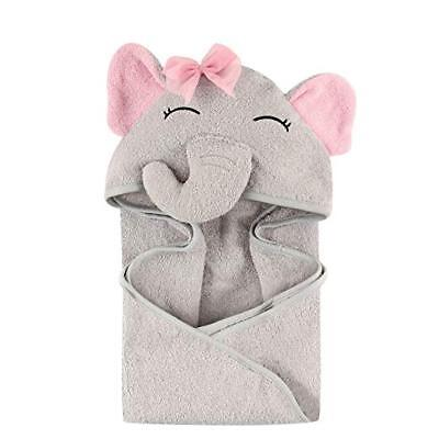 Hudson Baby Animal Face Hooded Towel for Girls, Pretty Elephant / 2 day shipping