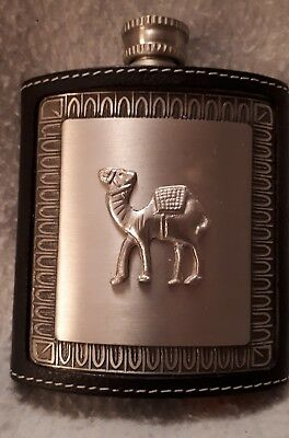 Attractive Leather Covered Metal Coat Pocket Whiskey Flask - Camel Motifp
