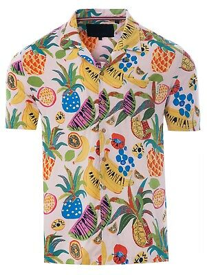 Soulstar Mens Cubano Collar Short Sleeve Summer Cocktail Hawaiian Shirt Pink