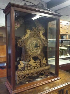 Large Antique Mahogany Display Case with Scratch Made Scrollwork Clock