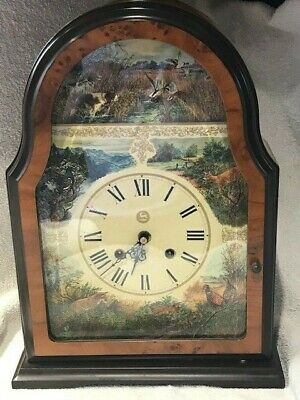 Antique 8 Day Franz Hermle Faux Burr Walnut Hunting Dial Mantel Clock