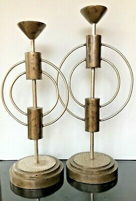 Industrial Chic Pair Very Tall Candelsticks Hammered Silver & Bronze