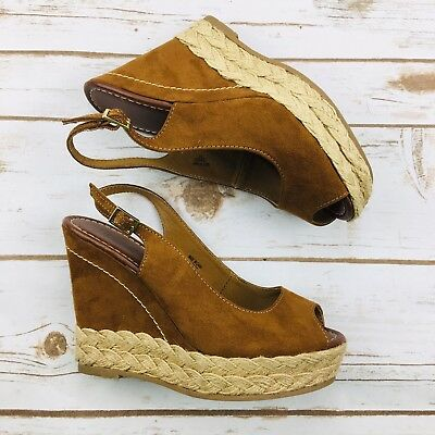 554cf360d703 Brash Brown Tan Wedge Platform Slingback Peep Toe Sandals Women s Size 6