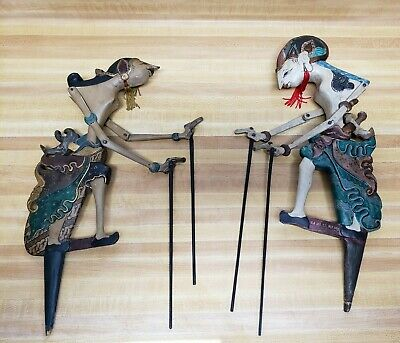 Vintage Asian Wooden Shadow Puppets In Fine Original Paint - Signed