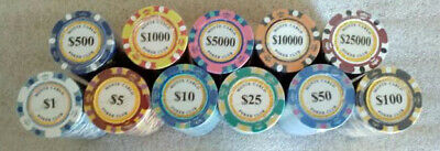 1000 poker chips Monte Carlo 14 gram choice of 10 denominations