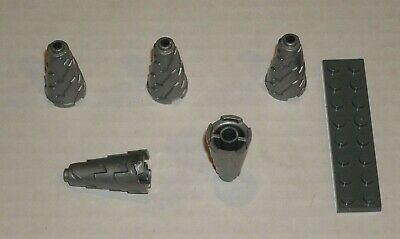 LEGO Flat Silver Cone Spiral Jagged Step Drill Lot of 10 Parts Pieces 64713