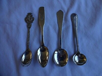 Vintage Silver Plated Salt/Mustard/Sauce Spoons x 4 JFK Motif on one, Eindhoven
