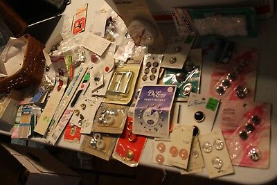 HUGE LOT of new buttons, button covers, zippers, buckles seam binding over 50 pc