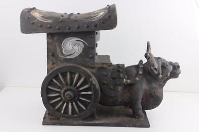 Chinese Han Dynasty Pottery Ox & Cart Solid Weight 9kg Sizes 46x35x23cm   A/F