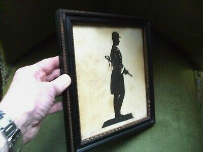 Antique 19Th Century Hand Painted Silhouette  Of An American Civil War Soldier