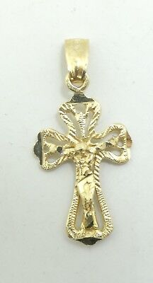 "Very Nice 14K Y Gold Religious Diamond Cut Jesus Crucifix Cross Pendant 1"" D6471"