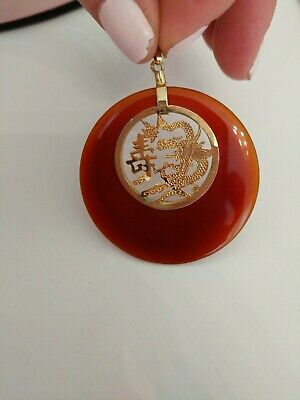 Vintage Oriental Chinese Japanese Jade Pendant Dragon Gold Colored Metal