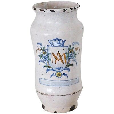 18th Century, Tin-Glazed Earthenware Large Alborello depicting Auspice Maria