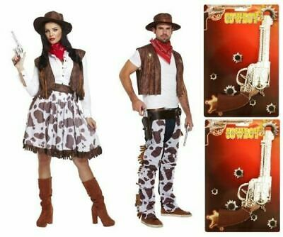 COWBOY COWGIRL Fancy Dress Costume Mens Ladies Couples Adults Accessories