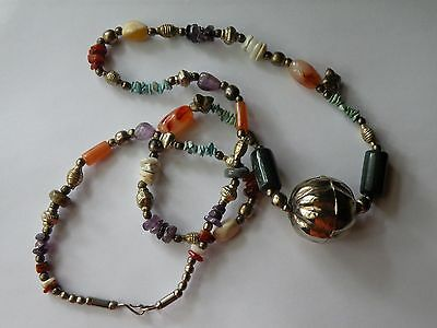Vintage African Ethnic Tribal necklace white metal natural stones