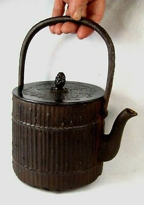 Antique Japanese Signed Cast Iron Tetsubin Tea Pot Bamboo Fence & Pine Cone