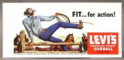 1950's LEVI'S OVERALL JEANS Cowboy Jumping Fence INK BLOTTER unused High Grade