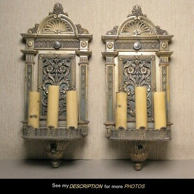 Antique Pair of Classical Electric WALL SCONCES attr Caldwell NY handel era