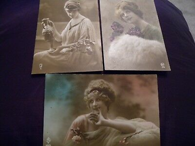 Job lot Antique French hand tinted postcards inc rare low number Beautiful girls