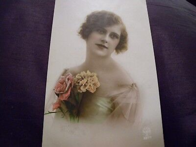 Antique French hand tinted postcard 1920s  NOYER 3377 beautiful girl