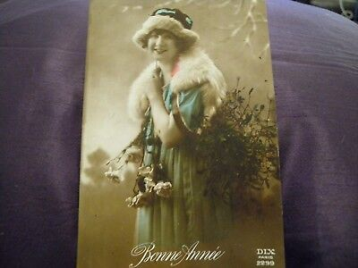 Antique French hand tinted postcard 1920s DIX Paris 2299 Beautiful girl NEW YEAR