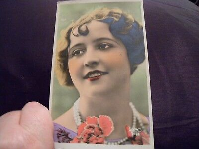 Antique French hand tinted postcard 1920s  ABC 2678 Beautiful girl