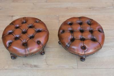 Pair 19th Century Victorian Hand dyed Leather Footstools