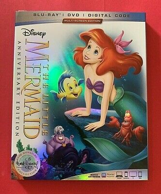 Little Mermaid w/ Slipcover [Brand New Blu-Ray + DVD + Digital] Disney