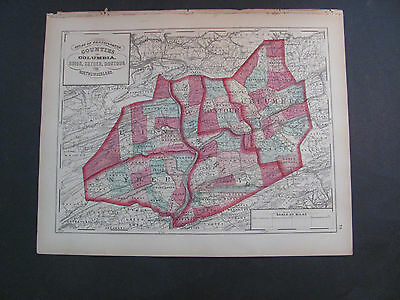 Antique 1872 Map Of Columbia, Union, Snyder, Montour, and Northumberland County